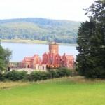 Blick vom Schloss auf die Kulissen des Störtebeker-Spektakels